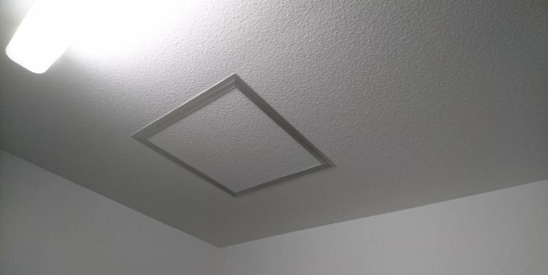自宅にも天井に入るための四角い点検口があるはず